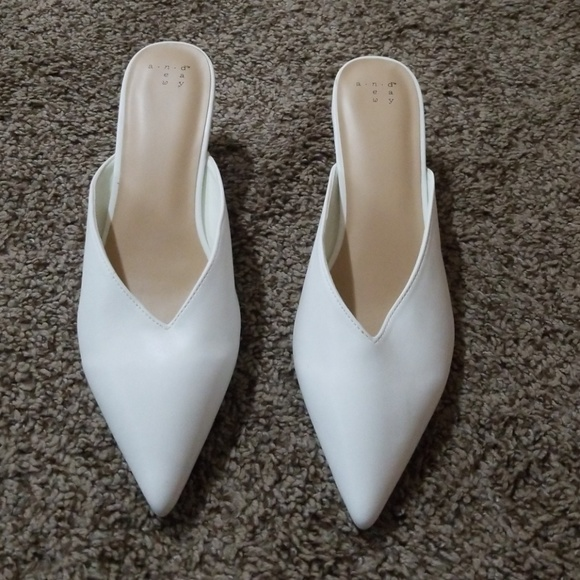A New Day White Kitten Heeled Pointed